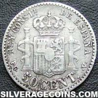 "Alfonso XIII ""Bucles"" Spanish Silver 50 Cents (Reverse)"