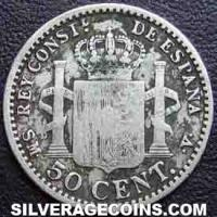 "Alfonso XIII ""Rizos"" Spanish Silver 50 Cents (Reverse)"