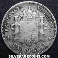 "Alfonso XIII ""Bucles"" Spanish Silver Peseta (Reverse)"