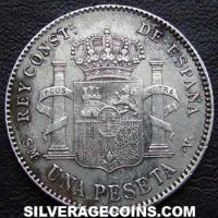 "Alfonso XIII ""Cadete"" Spanish Silver Peseta (Reverse)"