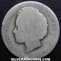 "Alfonso XIII ""Bucles"" Spanish Silver 2 Pesetas (Obverse)"