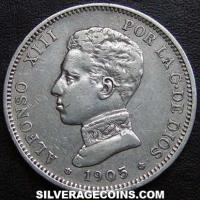 "Alfonso XIII ""Cadete"" Spanish Silver 2 Pesetas (Obverse)"