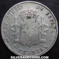 "Alfonso XIII ""Cadete"" Spanish Silver 2 Pesetas (Reverse)"