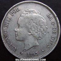 "Alfonso XIII ""Bucles"" Spanish Silver 5 Pesetas (Obverse)"