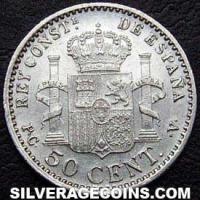 "Alfonso XIII ""Cadete"" Spanish Silver 50 Cents (Reverse)"