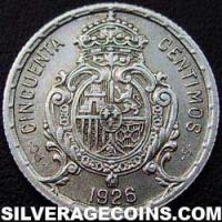 Alfonso XIII Spanish Silver 50 Cents (Reverse)