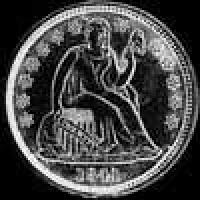 "United States ""Seated Liberty Dime"" Silver 10 Cents (with drapery) (Obverse)"