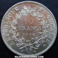 10 Silver French New Francs (Hercules) (Obverse)