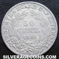 French Silver 50 Cents (Modern Republic, Liberty Head) (Reverse)