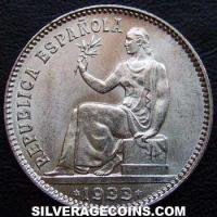 Second Republic Spanish Silver Peseta (Obverse)