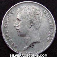 Albert I Belgian Silver Franc (Dutch, coin alignment) (Obverse)