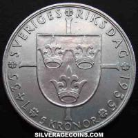 Gustav V Swedish Silver 5 Kronor (500th Aniversary of Riksdag) (Reverse)