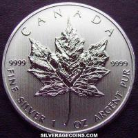 Canadian 5 Dollars 1 Ounce Silver Maple Leaf (Reverse)