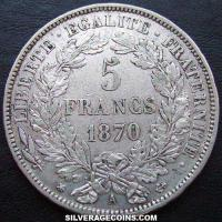 5 French Silver Francs (Liberty head) (Reverse)