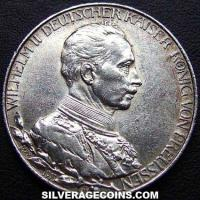 Wilhelm II Prussian Silver 2 Marks (25th year of Reign) (Obverse)