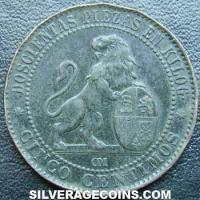 Provisional Government Spanish 5 Cents (Obverse)