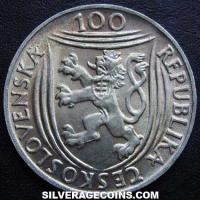 Czechoslovakia Silver 100 Korun (30th Anniversary Communist party) (Obverse)