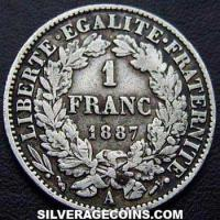 French Silver Franc (Liberty Head) (Reverse)